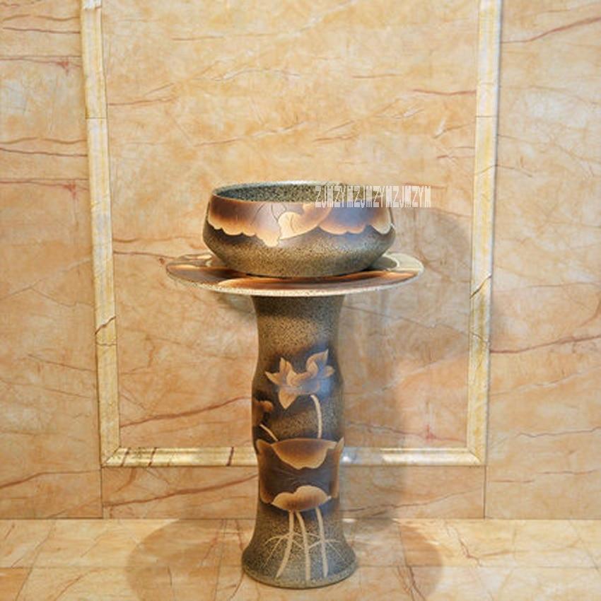 JXL-0408 Three-piece-suit Ceramic Pedestal Basin Household Floor-standing Creative Art Washbasin Bathroom Integral Floor Basin