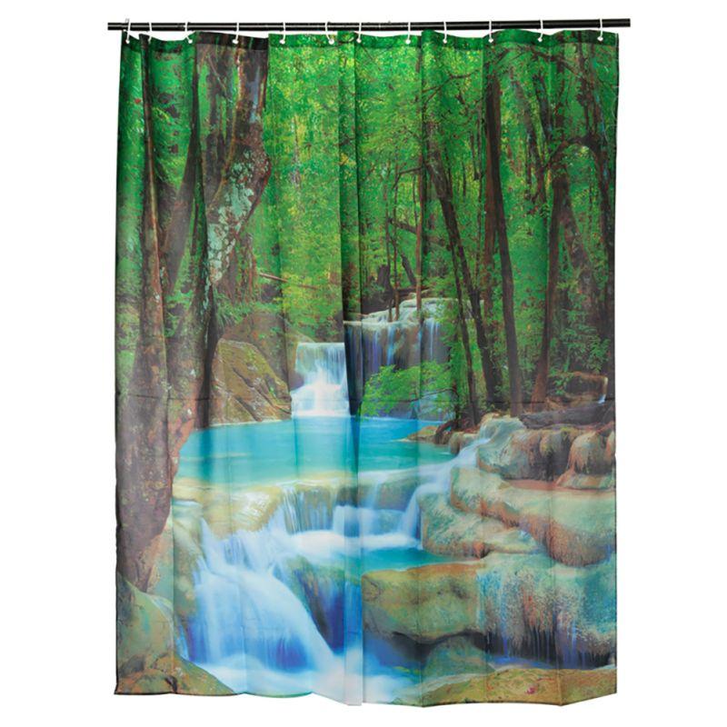 Bathroom Shower Curtains Hanging Decor 1pcs 180*180 CM Waterproof 3D Thick Vivid Waterfall Pattern Bath Shower Curtain Hot