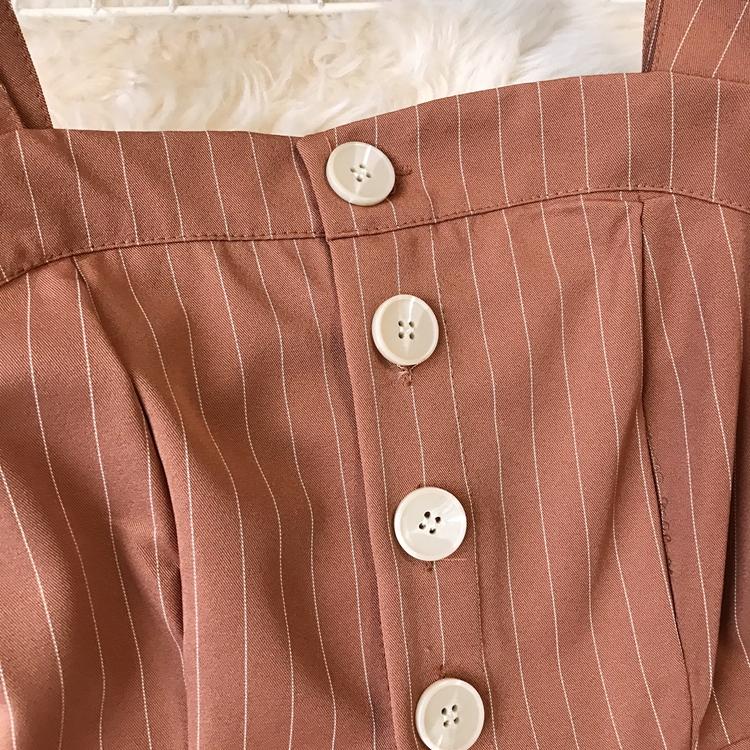 2019 Spring and Summer Korean New Stripe High Waist Open-back Jumpsuit Women Sleeveless Broad-legged Overalls G794 19