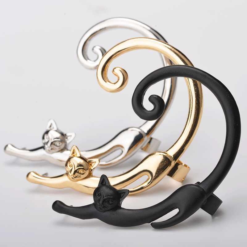 Single Punk สไตล์ทอง/เงินแมวโพสต์ต่างหูหูข้อมือ Rock สัตว์สตั๊ดต่างหูผู้หญิง drop shipping