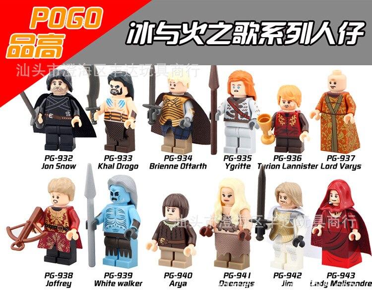 NEW hot 12pcs/set Game of Thrones Eddard Stark Jon Snow action figure toys Building Blocks Bricks Compatible Christmas gift