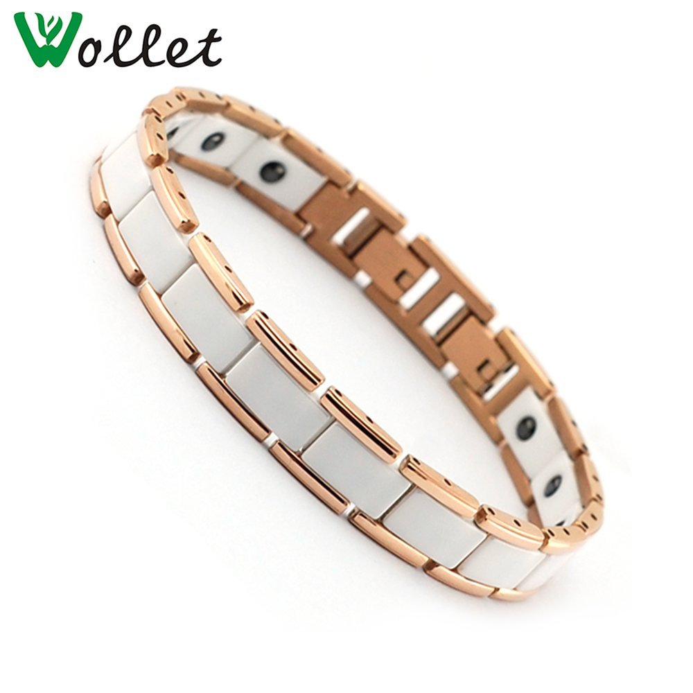 Wollet Jewelry Health Energy Ceramic Stainless Steel Bracelet Rose Gold White Magnets Germanium For Women
