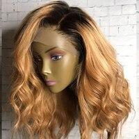Свободная волна блондинка Ombre 360 Кружева Фронтальная парики человеческих волос 150 плотность боковой части 1B/27 темные корни бразильский воло