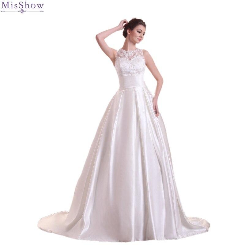 MisShow 2018 Simple Satin Wedding Dress Customized Plus