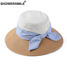 SHOWERSMILE Foldable Straw Hat For Women 2019 Camel Sun Female Patchwork Cotton Fashion Spring Bowknot Ladies Summer