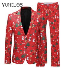YUNCLOS 2018 Newest Snowmen Christmas Party Wears Men's Slim Fit Suits Fashion Party Suits 2 Pieces Prom Suits For Men