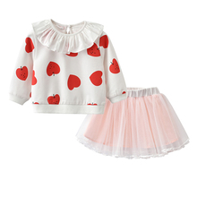 Toddler Girls Clothes Skirt Set, Long Sleeve Apple Ruffle T-Shirt & Tutu Tulle 1-5Y