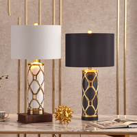 Fashion Crossed Gold Plated Stripes Ceramic Table Lamp Black White Bedroom Living Room Hotel Table Lights Office Decoration Lamp
