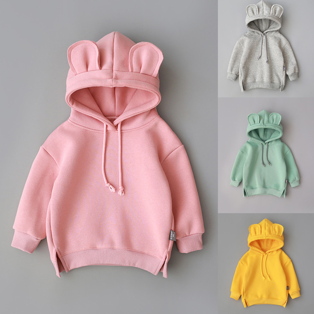 Toddler Baby Boy Girl Hooded 3D Ear Hoodie Sweatshirt Tops