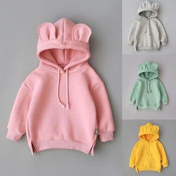 Children Hooded Sweatshirt Boys Cute Bear Ears Animal Hoodies Unisex Kids Clothing Girls Tops Coats Baby Casual Outwear Мотоцикл