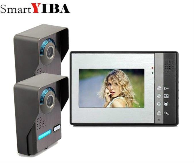SmartYIBA 7inch Video Record/Photograph Video Door Phone Doorbell Waterproof HD RFID Camera Home Security Intercom System 2V1