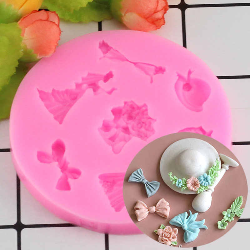 Straw Hat Bow Skirt Shape 3D Fondant Cake Silicone Mold Food Grade Mastic Confeitaria Chocolate Pastry Candy Making Tools
