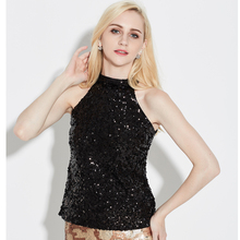 8bb6a5c25615ed Sexy Festival Top Costume Halter Cold Shoulder Sequin Party Club Top Vest  Women s T-Shirt Flashy Sleeveless Short Tank Top