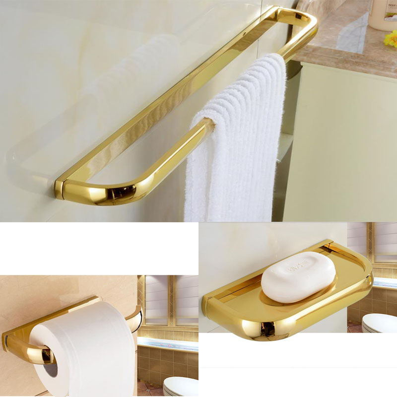 Christmas Day Promotion 3PCS Golden Color Finish Bathroom Towel Bar +Toilet Paper Holder+ Soap Dish maryanne bennie paper flow 28 day challenge