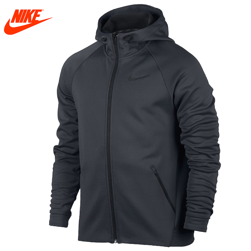 Nike Original Men's New Arrival Sport Jacket Breathable Hooded Knitted Warm Jacket Black and Grey alex evenings new black jacket msrp $ 179
