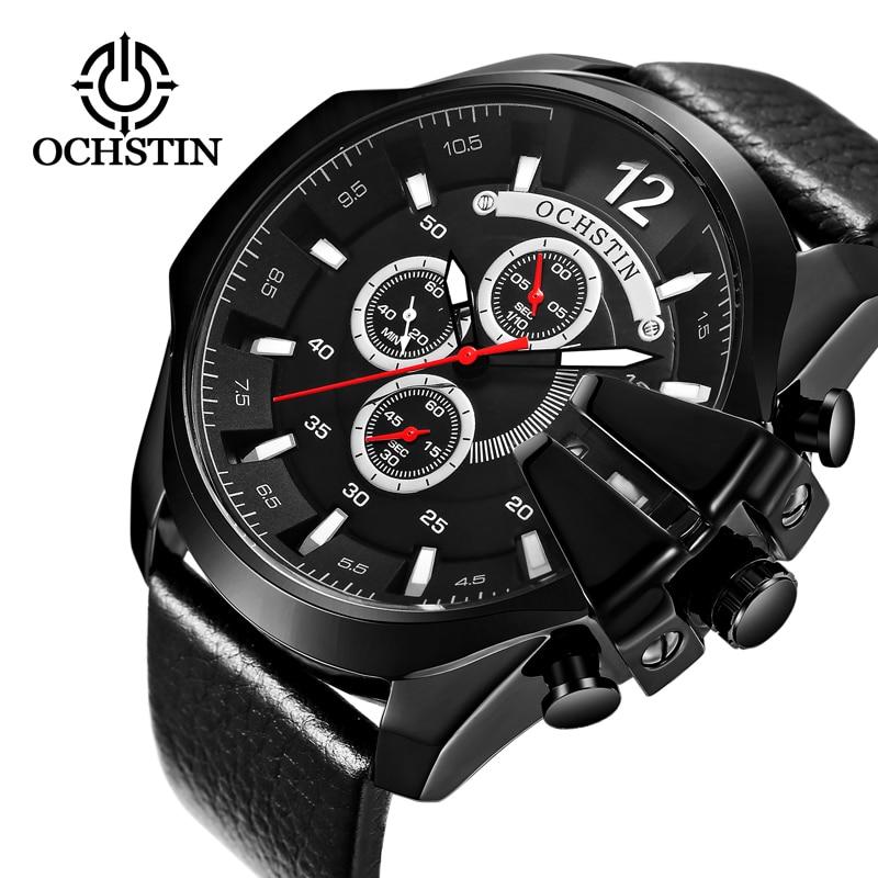 OCHSTIN Montre Hommes Sport Quartz De Mode En Cuir Horloge Hommes Montres Top Marque De Luxe Grand Cadran D'affaires Montre Relogio Masculino