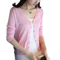 2017 Spring Summer Women Sweater V Neck Long Sleeve Hollow Out Summer Knitwear Women Tops