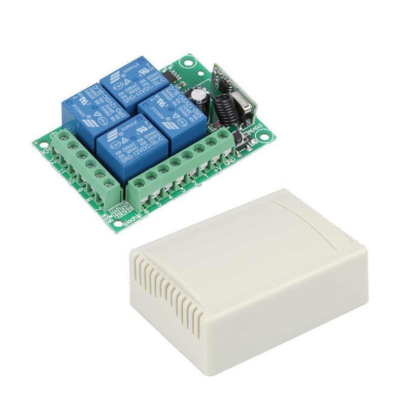 QIACHIP 433 Mhz interruptor de Control remoto inalámbrico cc 12V 4 canales relé receptor módulo + Transmisor RF 433 Mhz para abridor de puerta de garaje