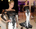 2014 New Sexy White and Black Long Sleeves Applique Lace Celebrity Dresses Sweep Train Mermaid Formal Evening Dresses XY175