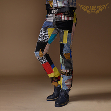 New Brand Flower Color Patch Material Straight Trousers Men ABC Evening Singers Stage Personality Jeans Costumes Pants