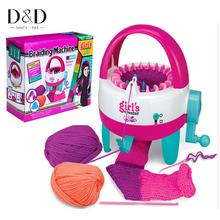 D & d plastic girls tejedor telar máquina de tejer de la manivela con herramientas de costura niños aprender juguetes educativos regalo diy artesanías(China (Mainland))