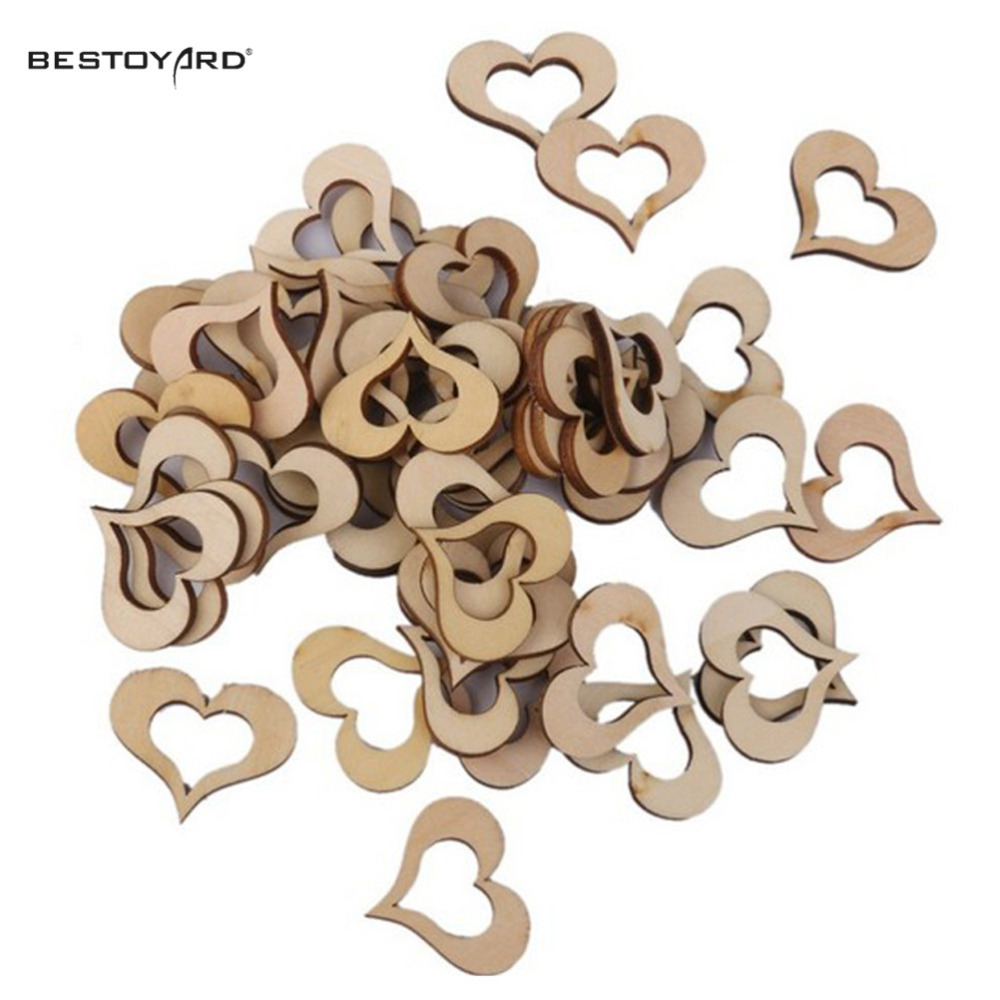 Laser Cut Heart Shaped Natural Wood Hanging Ornament Wedding Decorations Happy Birthday Party Kids Baby Shower Favors