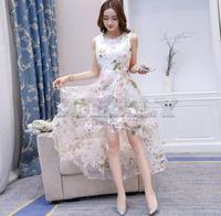Fashion Spring Summer High Low Dresses sleeveless Elegant Slim Front short back long Puffy Party Dress White Women Tulle Dress