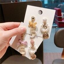 Korea Handmade Bowknot Number 5 Pearl Asymmetry Women Drop Earrings Dangle Fashion Jewelry Accessories-QQD5