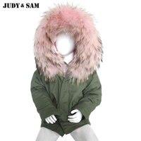 Fashion Kids Parka Army Green Jacket Warm Winter Real Raccoon Fur Hood Faux Fur Lined 100