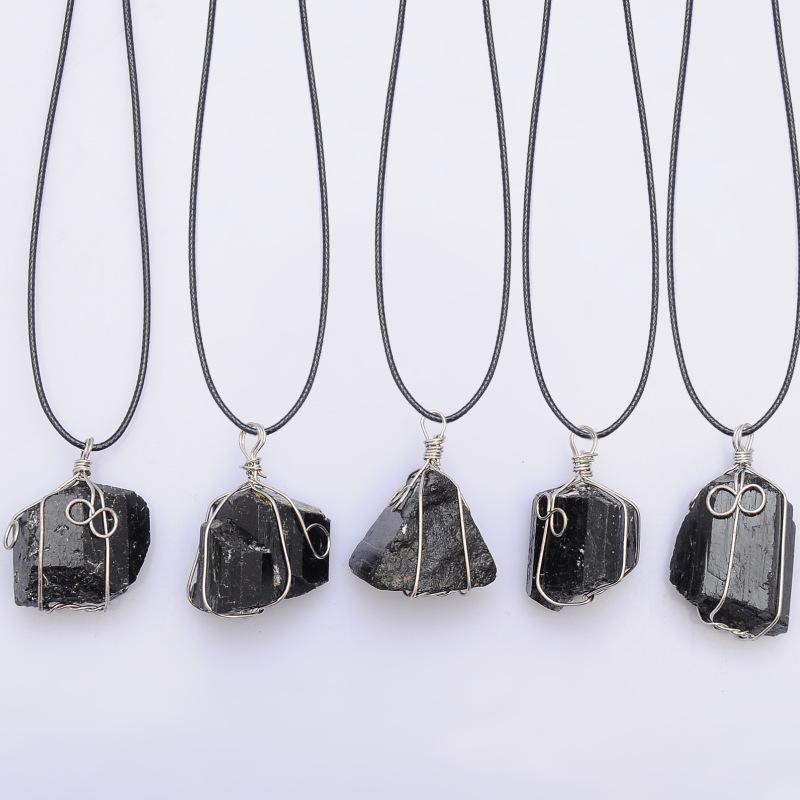 Black Tourmaline necklace Meditation Stone Black crystal Tourmaline Pendant Chakra Unisex Necklace Amulet Black crystal necklace