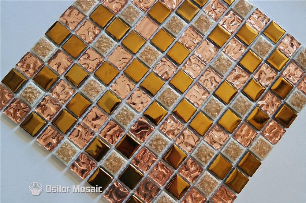 Gouden Mozaiek Tegels : Gratis verzending gouden keramische mozaïek tegel glas en metalen