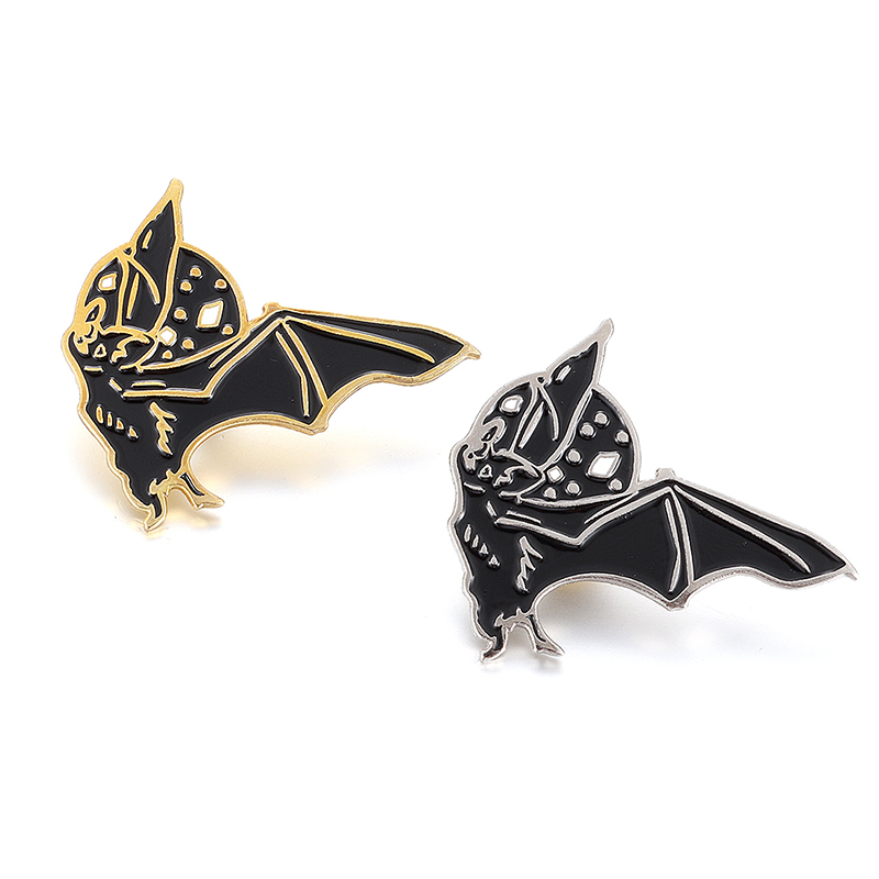 Vintage Punk Brooch Gold Silver Black Bat enamel Pin Halloween badge Gift Boy Lapel Backpack accessories in Brooches from Jewelry Accessories
