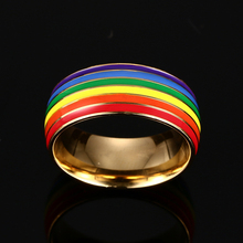 LGBT Pride Gold Titanium Steel Enamel Ring For Marriage