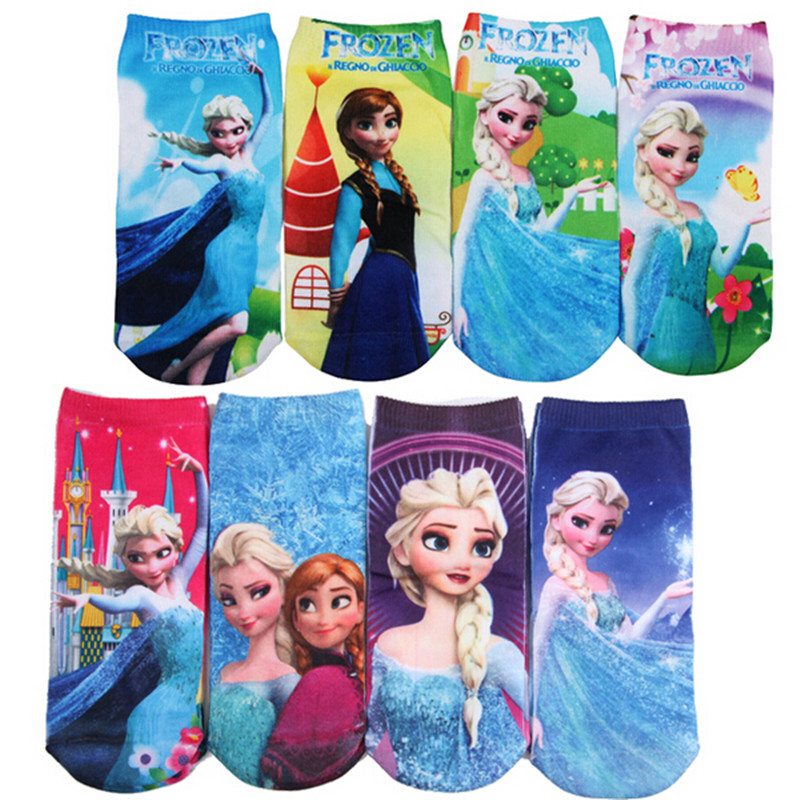 6 Pairs/lot 3D printing Cartoon Pattern Girls Boys Socks  Children