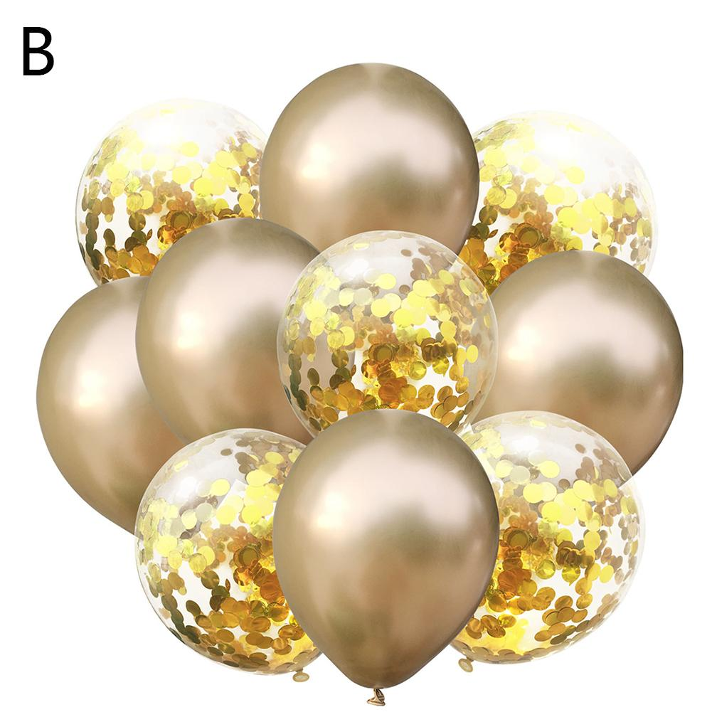 Sequin Balloon Set Metallic Chrome Latex Balloon 10Pcs Thickened Gold Pearl Glitter Confetti Decorative Balloon Combination for in Ballons Accessories from Home Garden
