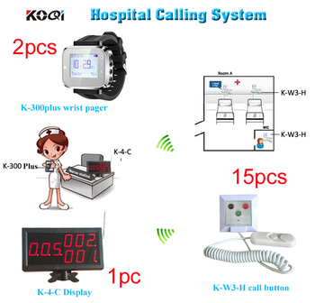Nursing elderly pager call system Display Receiver + 2 Wrist Watches + 15 call bells call from cord;Call; Emergency; Can