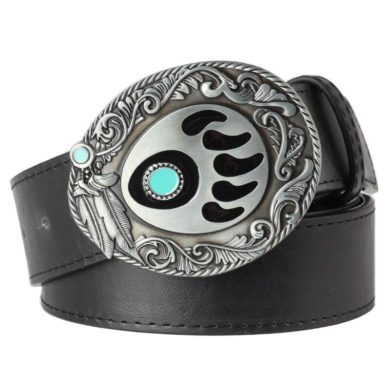 Heavy Metal Cowboy Punk Belt Genuine Leather Hip Hop Belts For Men Cross Rivet Jeans Belt Male Strap Ceinture Homme PT74
