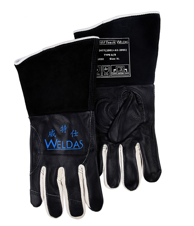 Oxygen welding gloves TIG MIG safety glove black color high temperature resistant breathable slip-resistant work glove leather safety glove deluxe tig mig leather welding glove comfoflex leather driver work glove