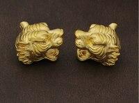 1 шт. чистый 999 24 К желтое золото кулон 3D модные головы леопарда кулон из бисера