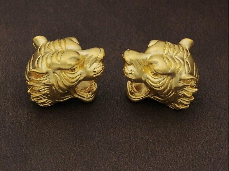 1PCS Pure 999 24K Yellow Gold Pendant 3D Fashion Leopard Head Bead Pendant