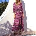 ZANZEA Женщины Урожай Цветочные Печати Длинные Dress 2017 Sexy V Шеи 3/4 Случайные Свободные Рукава Высокого Сплит Пляж Макси Партия Dress Vestidos
