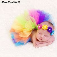 Cute Newborn Baby Girls Tutu Skirt Headband Photo Prop Costume Toddler Kids Outfit Infant Baby Short