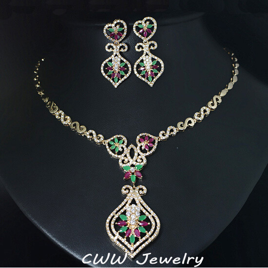 Vintage Royal Design Gold Color Created Emerald Green And Red Stone Pave Big Drop Indian Zirconia Jewelry Set For Women T187 цена