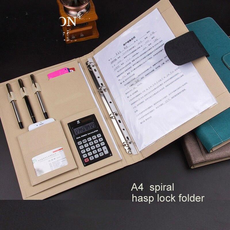 A4 PU cuir moraillon serrure business manager fichier dossier bureau travail accord document rapport dossiers portefeuille manuel pince 1083A