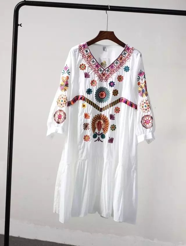 2c356d5ad96 White Boho Vintage Style Hand Embroidered Tunic Mexican Dress Hippie Puebla-in  Dresses from Women s Clothing on Aliexpress.com