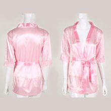 2018 Autumn Spring Pink Women Satin Lace Silk Soft Underwear Lingerie Nightdress Sleepwear Robe Pajamas Nighty For Girl Homewear(China)