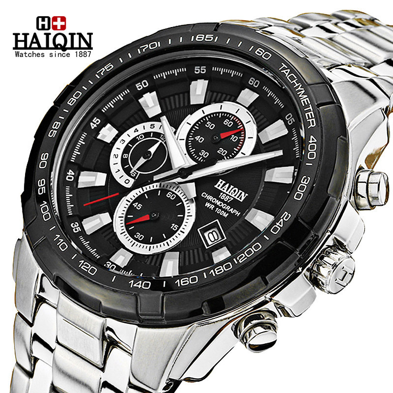 luxury man watches waterproof calendar top brand HAIQIN male clocks mens wristwatches quartz 316L stainless steel black white mce top brand mens watches automatic men watch luxury stainless steel wristwatches male clock montre with box 335