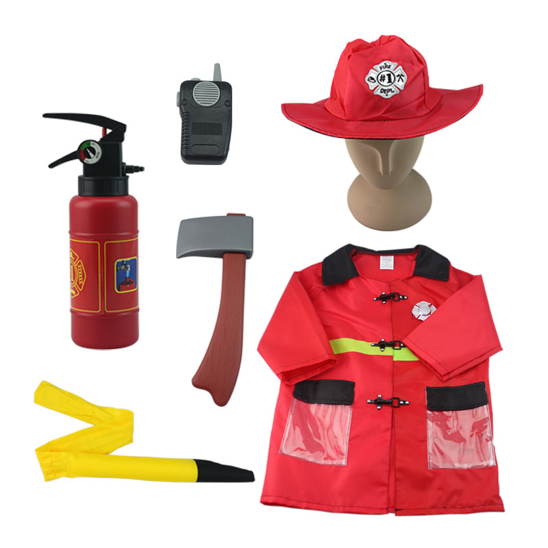 Firefighter Costume Role Play Set Fire Chief Game For Kids 90cm-130cm tall role play утюг smoby