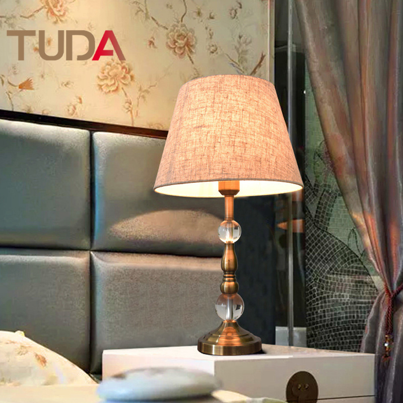 TUDA American Retro Crystal Table Lamp Bedroom Bedside Lamp European Light Luxury Night Light Intelligent Dimming Table Lamp luxary classic american bedroom table light foyer european crystal table lamp glass tall table light bedside hotel table lamp