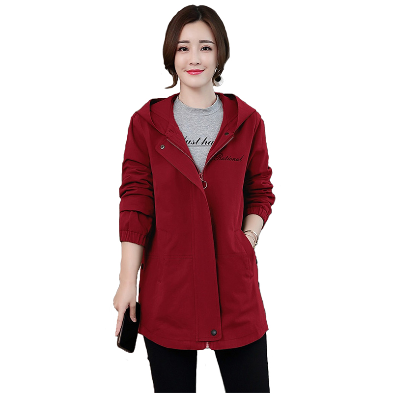 Trench   Coat Women 2019 Spring Autumn Hooded Casual Top Female Plus size Short Coat Long sleeve Loose Windbreaker Women Coat H761